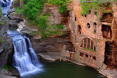 Joe Braun Photography - An abandoned hydrolic laboratory stands beside the majestic Triphammer Falls.