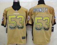 Nike Pittsburgh Steelers #53 Maurkice Pouncey 2013 Drift Fashion Yellow Elite Jersey