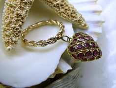 14k and 18k Yellow Gold Burmese Ruby Dangle Ring
