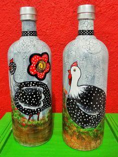 Da serie Galinha  D'angola- Arte by Suca Moreira Painting Bottles, Guinea Fowl, Bottle Art, Decoupage, Hand Painted, Home Decor, Recycled Glass, Glass Bottles, Hens