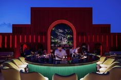 Image 1 of 13 from gallery of BAU Rooftop Lounge Bar / Rabih Geha Architects. Photograph by Tony Elieh, BAU Lounge Bar, Rooftop Lounge, Rooftop Bar, Luxury Restaurant, Restaurant Bar, Corrugated Steel Sheets, Glass Elevator, Laser Cut Panels, City Select
