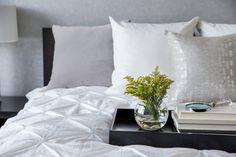 Luxury Master Retreat Design by Kelowna Interior Designer White Pillows, Velvet Pillows, Interior Styling, Interior Design, Calgary, Color Schemes, Relax, Master Bedrooms, Flower Arrangement