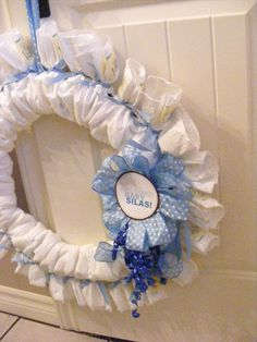 The Complete Guide to Imperfect Homemaking: DIY wreath for baby shower made with diapers
