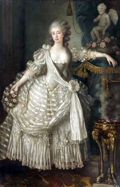 She was an actress and the mistress of the Comte d'Artois. Isn't her gown wonderful? (Via Vive la Reine.)