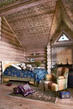 Log Cabin Interior Design #bedroom
