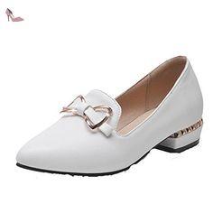 VogueZone009 Femme Mosaïque Pu Cuir à Talon Bas Pointu Tire Chaussures Légeres, Blanc, 33 - Chaussures voguezone009 (*Partner-Link)