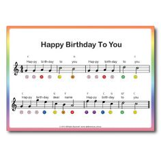 rainbow_music_beginner_piano_for_kids_page5_color_coded_song_happy_birthday Piano Songs For Beginners, Beginner Piano Music, Easy Piano Songs, Easy Piano Sheet Music, Music Songs, Happy Birthday Noten, Happy Birthday Piano, Clarinet Sheet Music, Violin Music