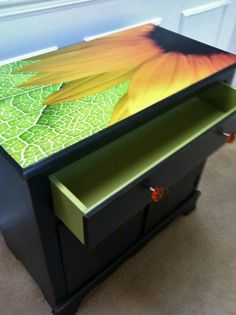 Beautiful Sunflower Black dresser with Lime Green Interior