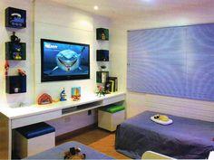 quarto menino painel TV nicho duas camas bancada