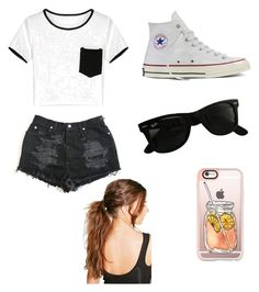 Casual by egloomis on Polyvore featuring polyvore, fashion, style, Converse, Ray-Ban, Casetify, Boohoo and clothing