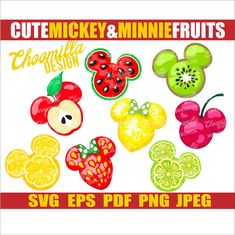 Mickey and Minnie fruits svg vector clip art. exclusive design of Disney snackgoals svg