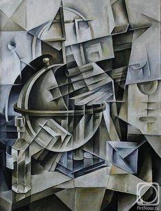 "Russian painters Krotkov Vassily's  ""Globe"". Cubo-futurism"