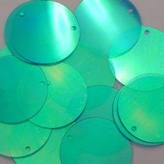 Sequin Shape - Flat Round Sequins Paillettes Effect - Iridescent Colour - Blue Green Size - Large 30mm Diam Stitching Holes - 1 not central Standard
