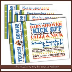 Football Baby Shower Invitations  CoEd baby shower by LullabyLoo, $18.00  #sports #baby boy #baby shower