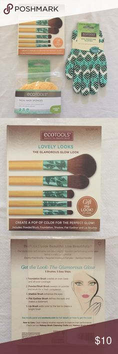 Ecotools Lovely Looks Brush Set + Gloves + Sponges Included here is an Ecotools Lovely Looks brush set (contains powder/blush brush, foundation brush, shadow brush, flat eyeliner brush, & lip brush), a set of 3 Ecotools Facial Mask Sponges, & a pair of Ecotools Spa Moisture Gloves. All items are brand-new. If you have any questions, please ask! Ecotools Makeup Brushes & Tools