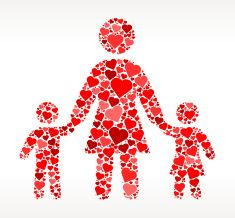 Mother and Children Red Hearts Love Pattern vector art illustration
