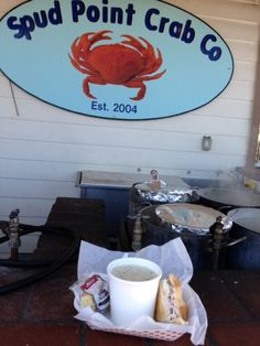 Spud Point Crab Company in Bodega Bay, CA.  They have the best crab sandwiches!