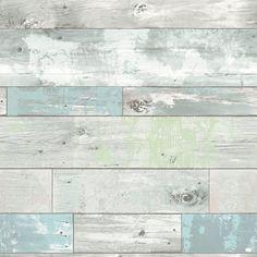 wallpaper distressed wood faux NU1647 blue green
