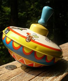 Vintage Tin Litho Spinning Top Toy Circus by TheOddOldTriednTrue