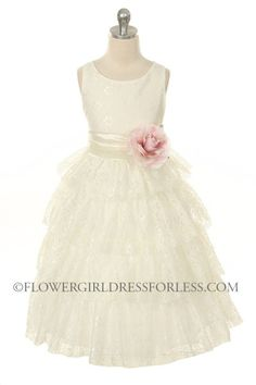 Girls Dress Style 274 - SALE White-Champagne size 2 (2 pieces available) $39.99