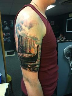 This is the tattoo artist I want... Viking norse ship done by Matt Clemmer in Dayton, OH.