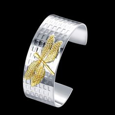 Aliexpress.com : Buy Golden Dragonfly Charms bracelet bangle Men's Women's High quality 925 stamped silver plated Pulseras joyas free shipping from Reliable bangle bracelet holder stand suppliers on Rose Fashion Jewelry CO., LTD.