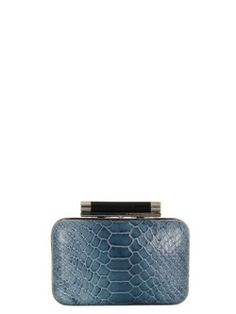 Diane Von Furstenberg – Tonda, womens small twilight blue python embossed leather box clutch with a contrast navy snakeskin rear. The bag features a black snap clasp fastening and detachable chain shoulder strap. Internally the bag is lined in brown grosgrain cotton and finished with a single pocket and DVF plaque.  - L13.5 x H10 x W5cms