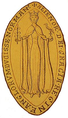 The obverse of Eleanor of Aquitaine's seal. She is identified as Eleanor, by the Grace of God, Queen of the English, Duchess of the Normans. The legend on the reverse calls her Eleanor, Duchess of the Aquitanians and Countess of the Angevins. Courtly Love, Eleanor Of Aquitaine, High Middle Ages, Plantagenet, King Henry, King John, Queen Of England, Chivalry, British History