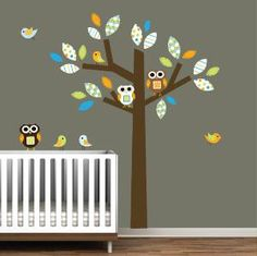 Items similar to Childrens Pattern Tree Decal with Birds,Owls-Nursery Wall Decal on Etsy Owl Themed Nursery, Elephant Nursery, Nursery Wall Decals, Vinyl Wall Decals, Nursery Neutral, Neutral Nurseries, Nurseries Baby, Tree Decals, Baby Owls