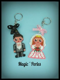 "Porte clé de la collection ""les zamoureux"" -Keyrings hama mini perler beads by… Melty Bead Patterns, Pearler Bead Patterns, Perler Patterns, Pearler Beads, Craft Patterns, Hama Beads Jewelry, Fuse Beads, Quilling Patterns, Beading Patterns"