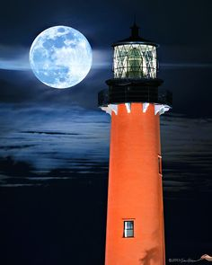 Full Moon Rising over Jupiter Lighthouse Closeup by HDRcustoms