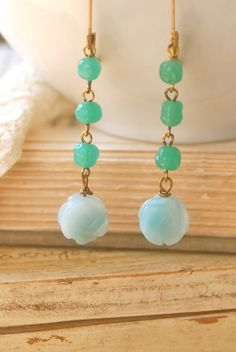Emma. amazonite rose,beaded earrings. Tiedupmemories