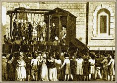 """Engraving of The Newgate """"New Drop Gallows"""" London, designed for 9 simultaneous executions."""