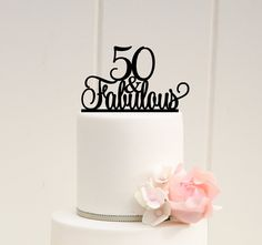 Original 50 and Fabulous 50th Birthday Cake by ThePinkOwlGifts