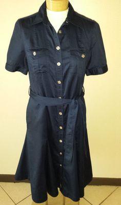 Lauren Ralph Lauren Button Down Dress Navy Blue Short Sleeve Womens Sz 10 #LaurenRalphLauren #ButtonDown #Casual