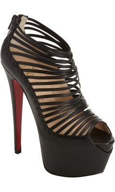 Black Zoulou high heels by Christian Louboutin. Smooth leather peep toe platform pump with multi-strap detailing at front and tonal back zip. Black High Heels, Black Sandals, Black Boots, Sexy Boots, Sexy Heels, Christian Louboutin Women, Red Louboutin, Shoes Heels, Pumps