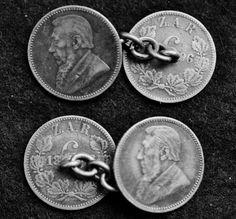 BOER WAR ZAR 6 PENCE 1896 KRUGER SILVER COIN CUFFLINKS