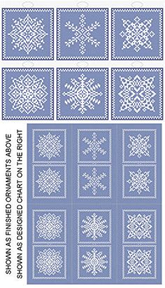 Snowflakes 6 Ornament Set - Christmas cross stitch pattern designed by Susan Saltzgiver. Small Cross Stitch, Cross Stitch Borders, Modern Cross Stitch, Cross Stitch Designs, Cross Stitching, Cross Stitch Embroidery, Cross Stitch Patterns, Embroidery Patterns, Snowflake Designs