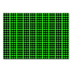 Pattern: Green Background with Black Circles Table Card