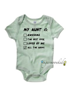 Aunt Baby Onesie by sugarmoonkids on Etsy, $17.00 @Mary Powers Powers Powers Powers Powers Powers Powers @Lisa Phillips-Barton Phillips-Barton Phillips-Barton Phillips-Barton Phillips-Barton Phillips-Barton Phillips-Barton