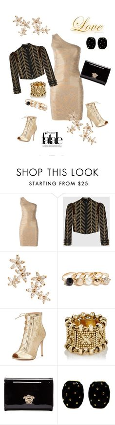 """""""Untitled #309"""" by belinda54-1 ❤ liked on Polyvore featuring Balmain, Gucci, Bonheur, GUESS, Gianvito Rossi, Monday, Versace and David Webb"""