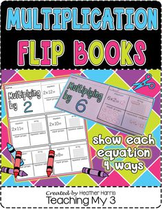 Multiplication Flip Books Fun way to learn multiplication facts. Shows each equation 4 ways: equation, array, equal groups, and repeated addition. Math Resources, Math Activities, Math Classroom, Classroom Ideas, Teaching Math, Teaching Ideas, Math Groups, Flip Books, Math Multiplication