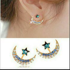 BLUE CRYSTAL STAR AND MOON JACKET EARRINGS