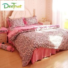 Cotton Leopard Embroidered Bedding set 4pcs Pink Reactive Printing Duvet Cover Bedsheet Romantic Lace Quilt Bed Valentine's Gift