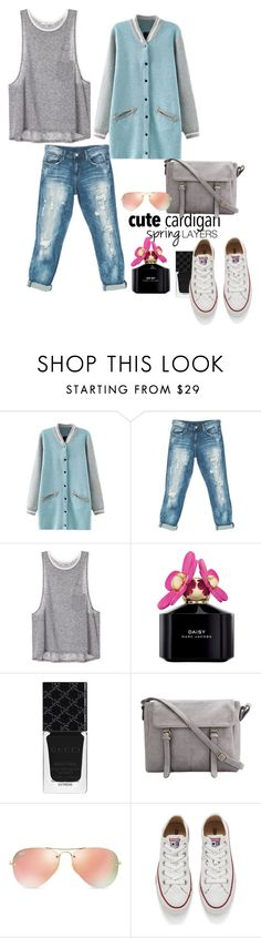 """""""Untitled"""" by xyz-affairs ❤ liked on Polyvore featuring Sans Souci, Marc Jacobs, Gucci, Ray-Ban, Converse, cutecardigan and springlayers"""