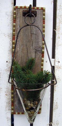 Weathered Wood  Wall Hanging | Tiled Edges | Glass V Shaped Hanging Vase