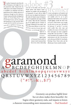 Garamond | Type Specimen History Poster by Christopher Gray, via Behance