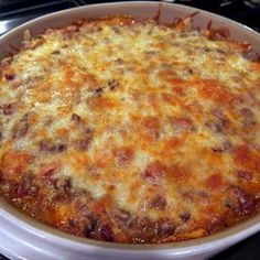 Mexican Casserole on BigOven: This casserole reminded me a lot of King Ranch Chicken but with ground beef.  This was quick and easy to put together.  I cooked my ground beef the night before and just mixed everything up when I got home from work.  This is a very hearty and filling dish.  It is also great reheated the next day.  I think this would be a great dish to serve at a potluck dinner or even a tailgate party.
