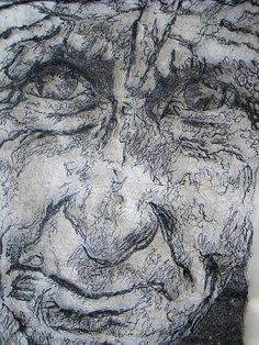 REVEAL: mixed media textile artists Textile Texture, Textile Artists, Mixed Media Art, Textiles, Drawings, Stitches, Fabrics, Faces, Wire