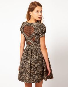Max C Leopard Dress With Sweetheart Back